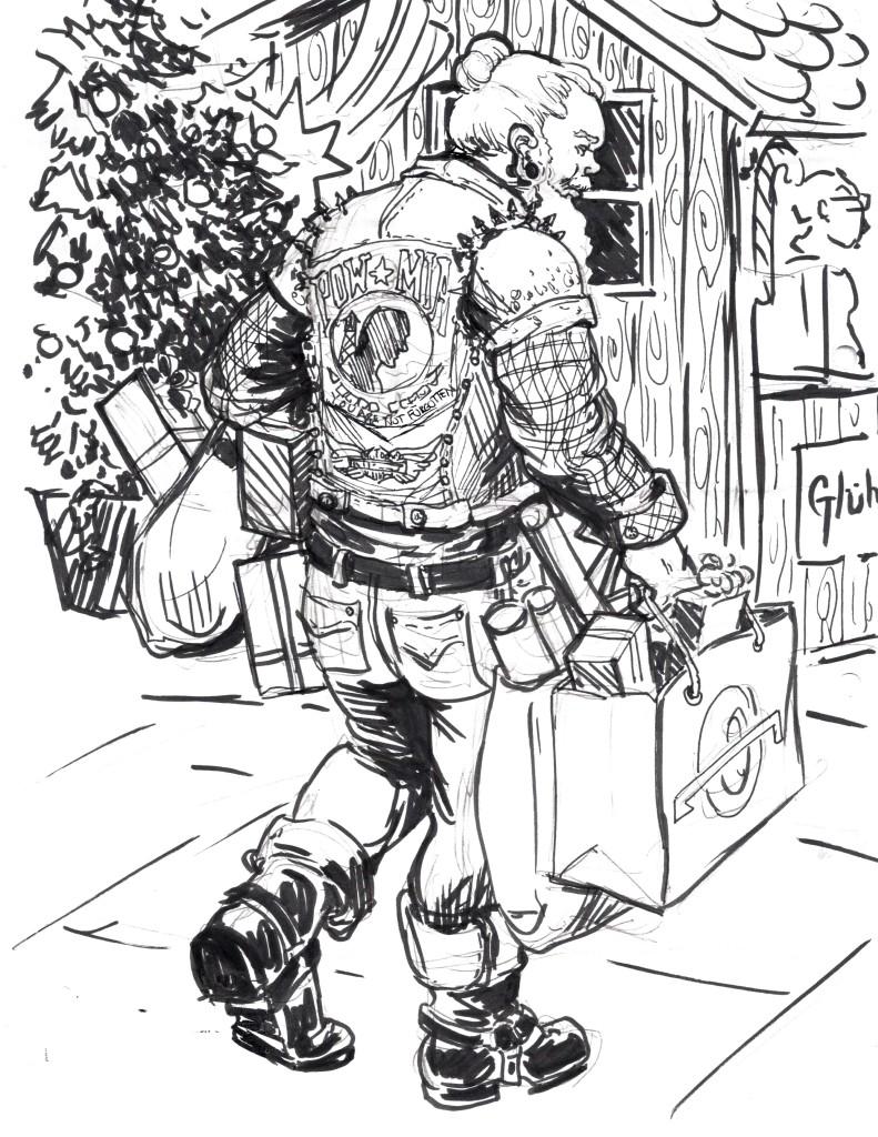Urban Man-bun UNdercut Biker Santa by Suzanne FOrbes Jan 2016