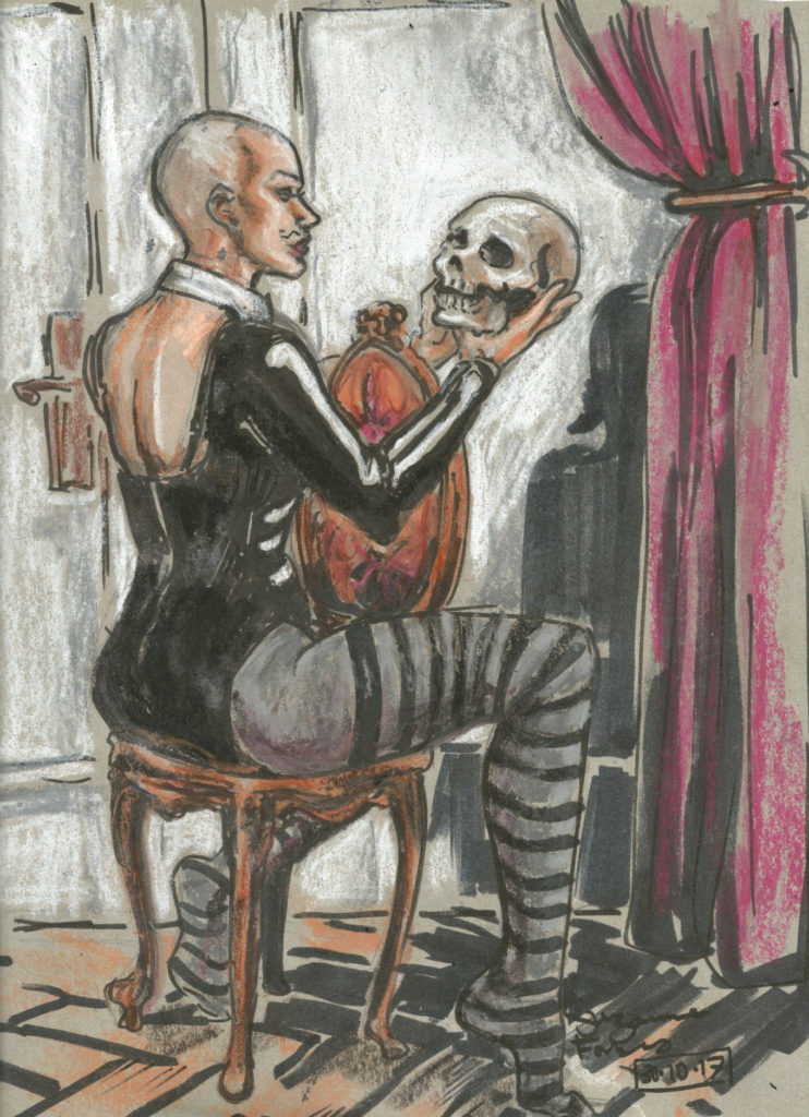 Miss Natasha Enquist with skull by Suzanne Forbes Oct 30 2017
