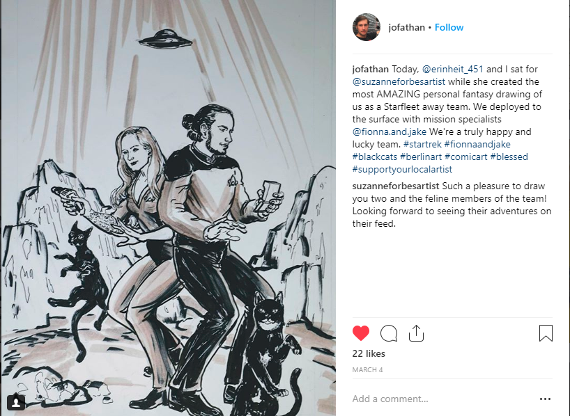 portrait drawing by Suzanne Forbes of E and J as Star Trek crew members